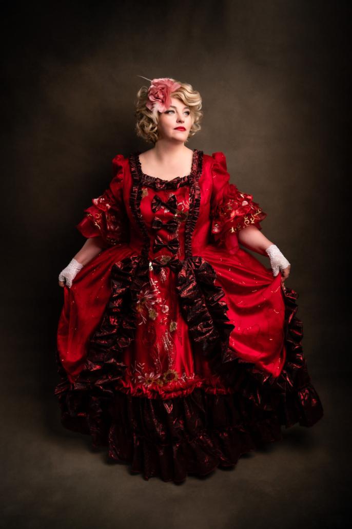 studio portrait lady in vintage dress